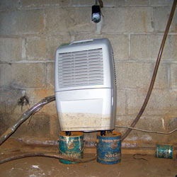 A crawl space dehumidifier up on coffee cans, with a muddy water mark halfway up
