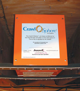 A ventilation fan installed for a crawl space in Oronoco