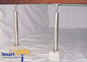 Crawl space structural support jacks installed in Faribault