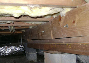 sagging crawl space with wooden shimming a Minnetonka crawl space