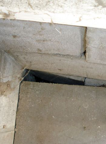 inward rotation of a foundation wall damaged by street creep in a garage in Chanhassen