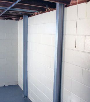 A PowerBrace™ i-beam foundation wall repair system in Rochester