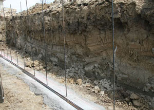Soil layers exposed while excavating to construct a new foundation in La Crosse
