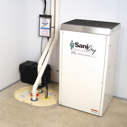 Sump pump system, dehumidifier, and basement wall panels installed during a sump pump installation in Minnetonka