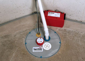 A sump pump system with a battery backup system installed in Winona