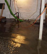 Several feet of floodwaters in a Alexandria basement