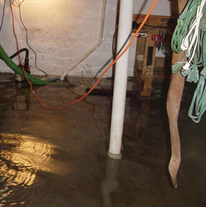 Foundation flooding in a Jamestown,Minnesota, North Dakota, Iowa, and Wisconsin home