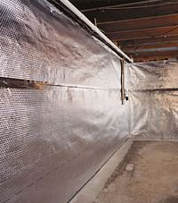 Radiant heat barrier and vapor barrier for finished basement walls in Eden Prairie, Minnesota, Iowa, and Wisconsin